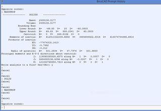 BricsCAD: MASSPROP command, and the Properties Tab (Smart
